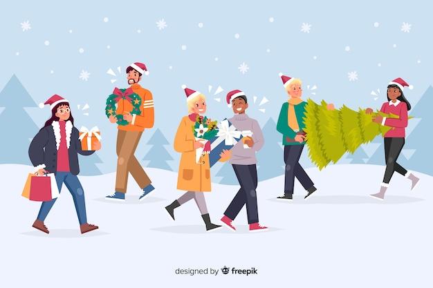 Mensen die giften voor het beeldverhaal van de kerstmispartij nemen Gratis Vector