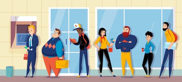Mensen die in bank een rij vormen voor atm-contant geldmachine wachtende vlakke horizontale de samenstellingsillustratie Gratis Vector