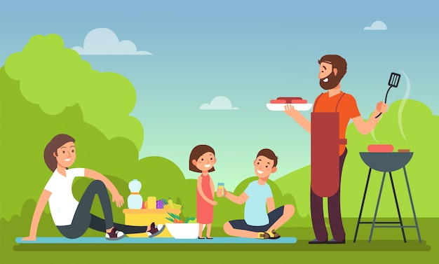 Mensen die in bbq partij voedsel eten. Premium Vector