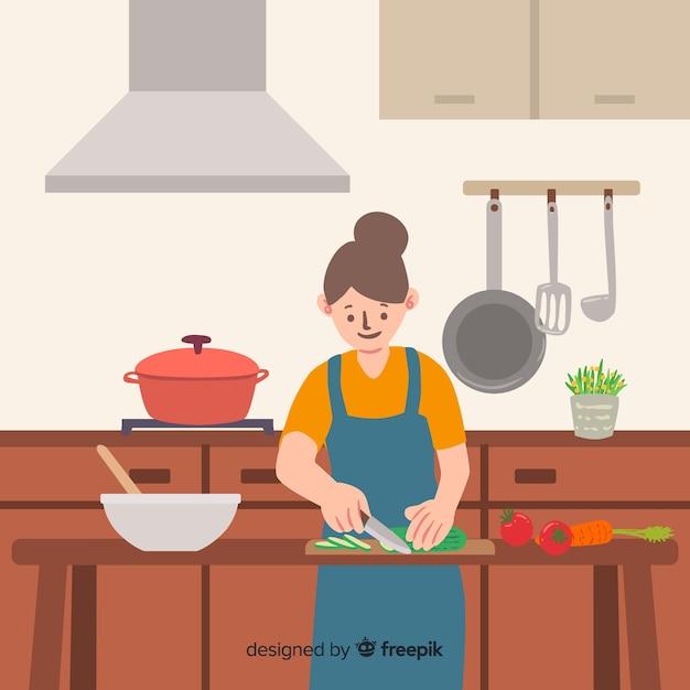 Mensen die in de keuken koken Gratis Vector