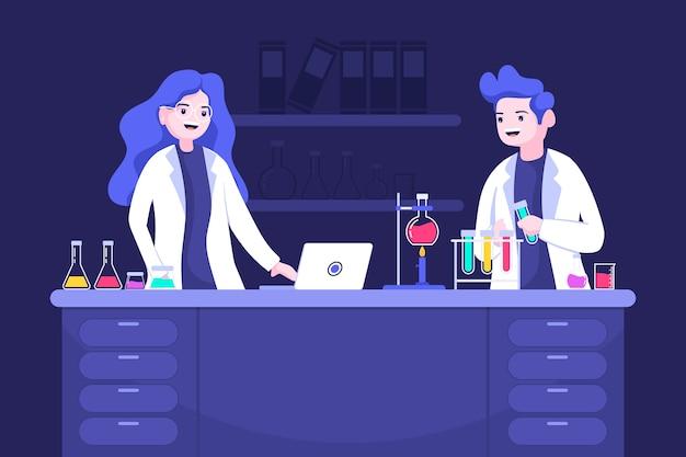 Mensen die in een wetenschappelijk laboratorium werken Premium Vector