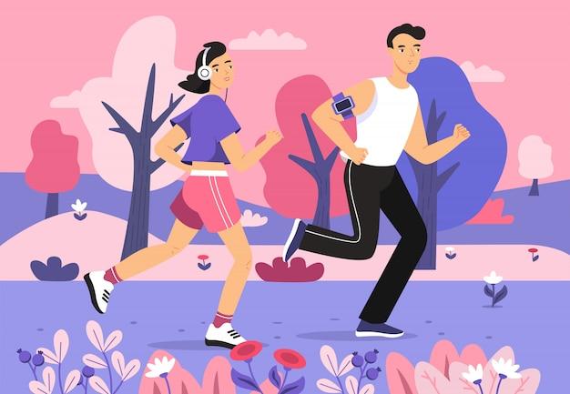 Mensen die in parkillustratie aanstoten van jonge man en vrouwen lopende sportmarathon Gratis Vector
