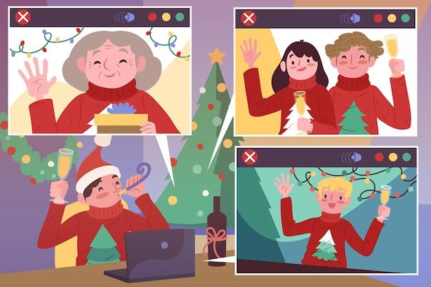 Mensen die kerstmis vieren tijdens een geïllustreerd videogesprek Gratis Vector