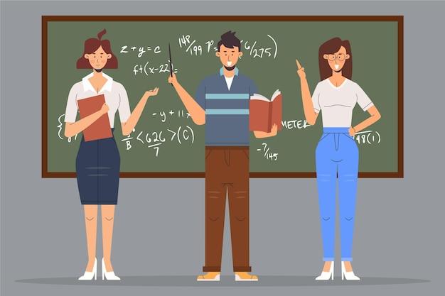 Mensen die lesgeven voor de klas Gratis Vector