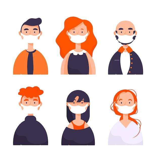 Mensen die medisch geïllustreerd masker dragen Gratis Vector
