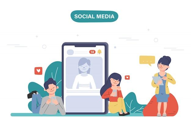 Mensen die mobiele telefoon gebruiken voor sociale media netwerkcommunicatie. online community mensen. Premium Vector