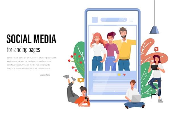 Mensen die mobiele telefoon voor sociale media netwerkcommunicatie vlakke vectorillustratie met behulp van Premium Vector