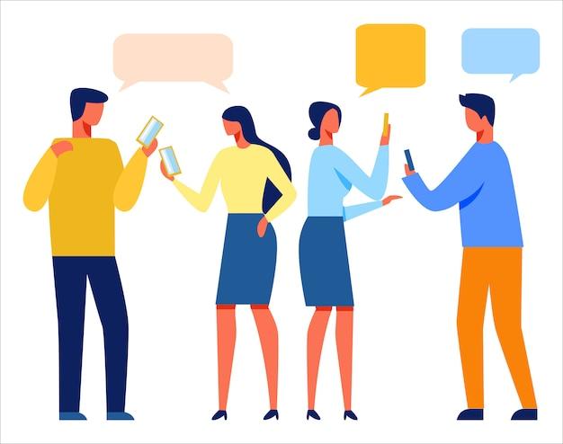 Mensen die mobiele telefoons gebruiken voor online chatten Premium Vector