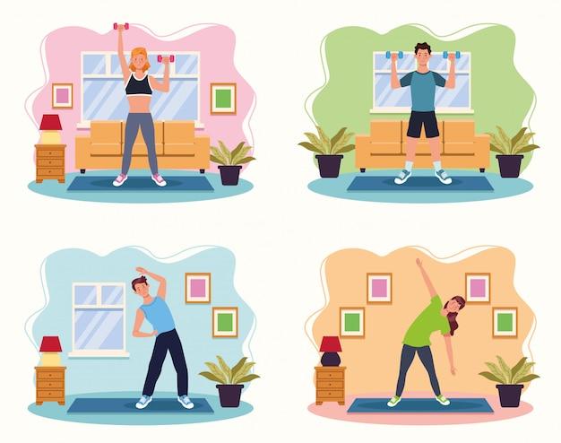 Mensen die oefening in het ontwerp van de huis vectorillustratie uitoefenen Premium Vector