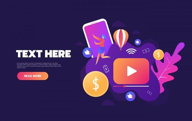 Mensen die online video streamen met hun laptop, smartphone-concept, online zelfstudie videostreaming bestemmingspagina, Premium Vector