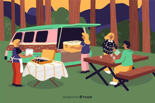 Mensen die op aard vlak ontwerp kamperen Gratis Vector