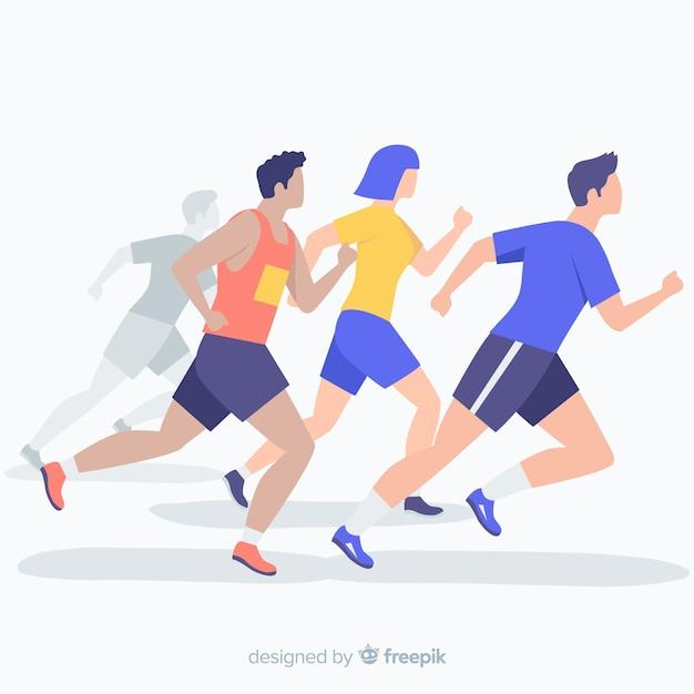 Mensen die op een marathon lopen Gratis Vector