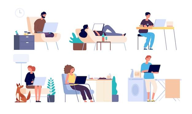 Mensen die op internet surfen. man en vrouw online met gadget, laptop. jongens brengen tijd door met winkelen op internet en chatten vector platte set Premium Vector