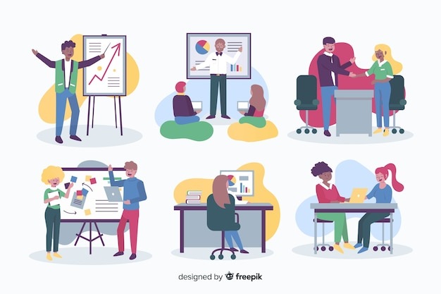 Mensen die op kantoor werken in plat ontwerp Gratis Vector
