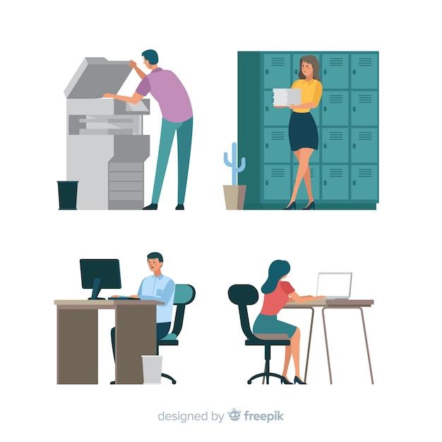 Mensen die op kantoor werken Gratis Vector