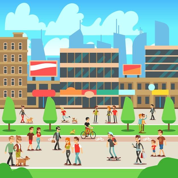 Mensen die op stadsstraat lopen Premium Vector