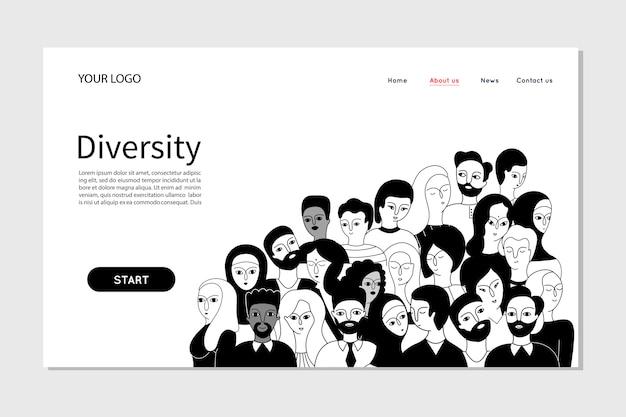Mensen die persoonsteam-diversiteit in het bedrijf presenteren. landingspagina websjabloon Premium Vector