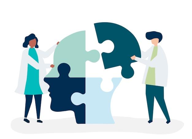 Mensen die puzzelstukjes van een kop met elkaar verbinden Gratis Vector