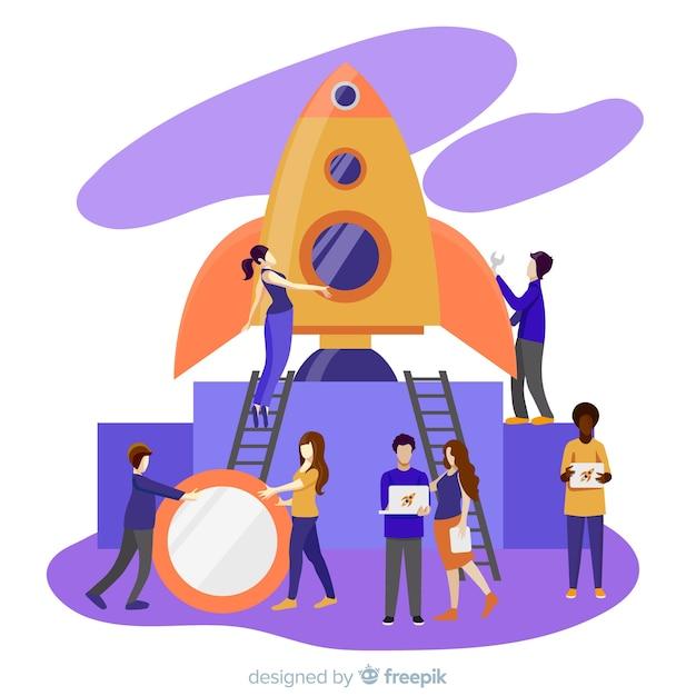 Mensen die raketachtergrond bouwen Gratis Vector