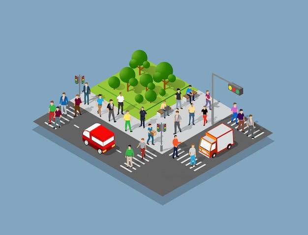 Mensen die rond de stad lopen Premium Vector
