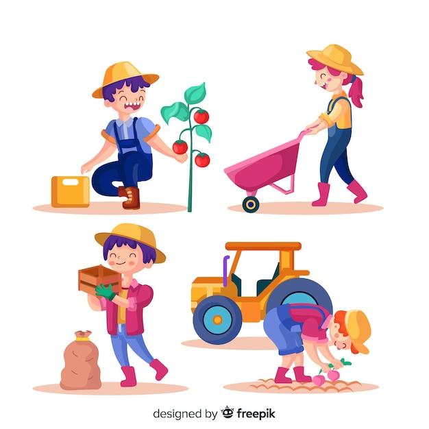Mensen die samenwerken in de geïllustreerde landbouw Gratis Vector