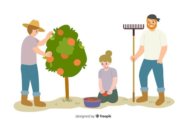 Mensen die samenwerken in de landbouw Gratis Vector