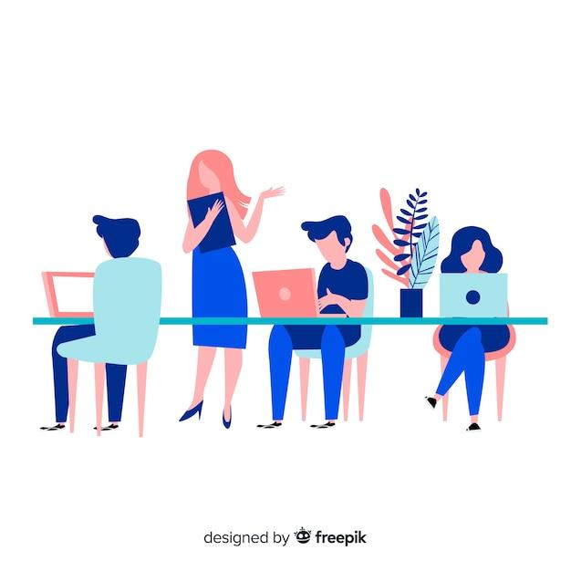 Mensen die samenwerken op kantoor Gratis Vector