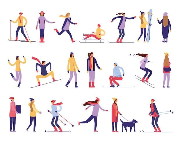 Mensen die sneeuwactiviteiten beoefenen Gratis Vector