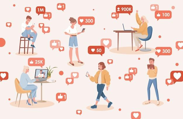 Mensen die sociale media vlakke afbeelding gebruiken. gelukkig lachende mannen en vrouwen krijgen abonnees en likes op internet. Premium Vector