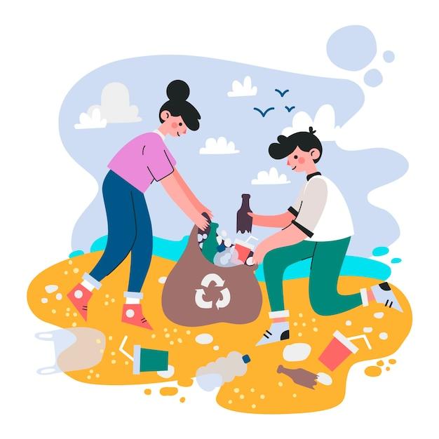 Mensen die strand samen schoonmaken Gratis Vector