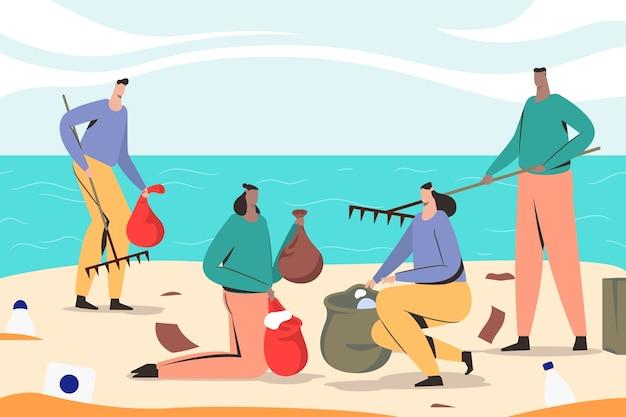 Mensen die strand schoonmaken en het afval hergebruiken Gratis Vector