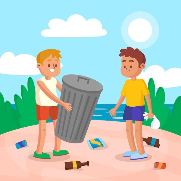 Mensen die strand van afval schoonmaken Gratis Vector