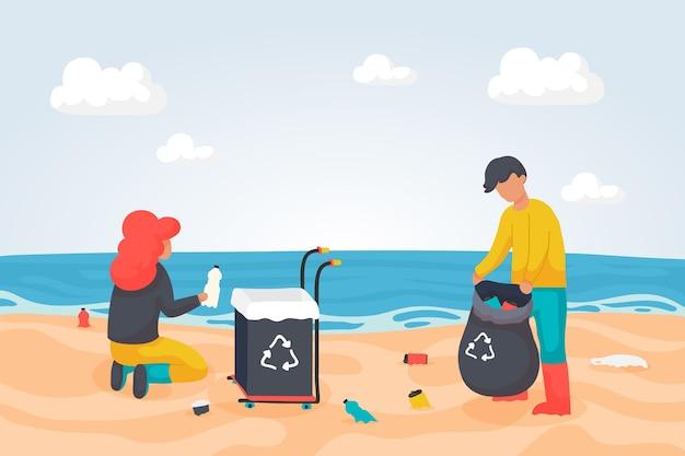Mensen die strand van puin schoonmaken Gratis Vector