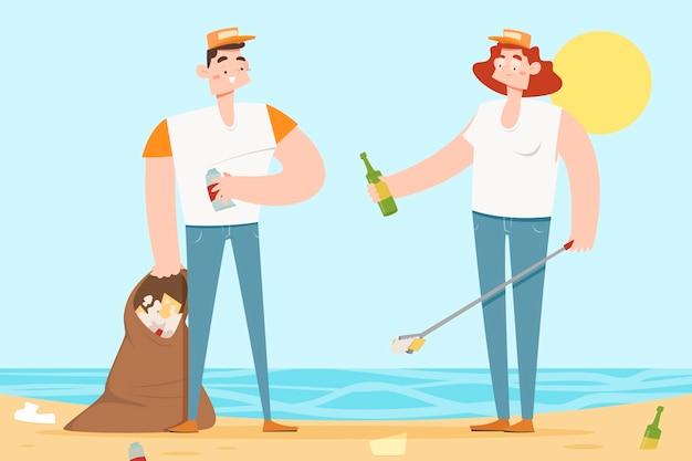 Mensen die strand van vuilnis schoonmaken Gratis Vector