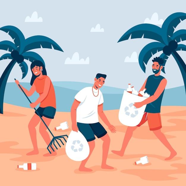 Mensen die strandconcept schoonmaken Gratis Vector