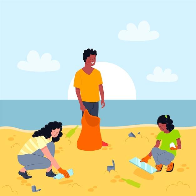 Mensen die strandillustratie schoonmaken Gratis Vector
