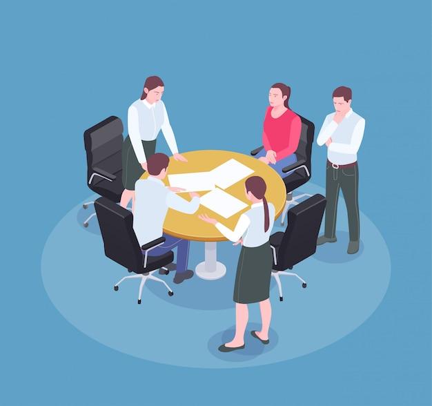 Mensen die tijdens vergadering in de isometrische 3d samenstelling van het reclamebureau bureau brainstormen Gratis Vector