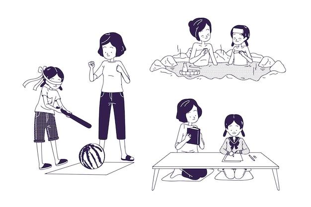 Mensen die verschillende japanse activiteiten doen Gratis Vector