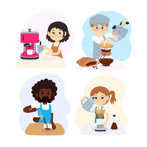 Mensen die verschillende koffiemethoden instellen Gratis Vector