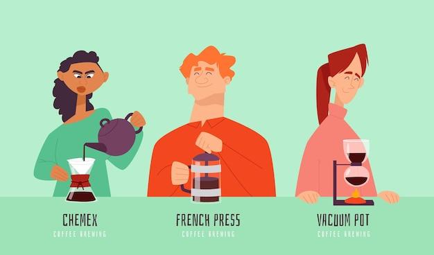 Mensen die verschillende koffiemethoden maken Gratis Vector