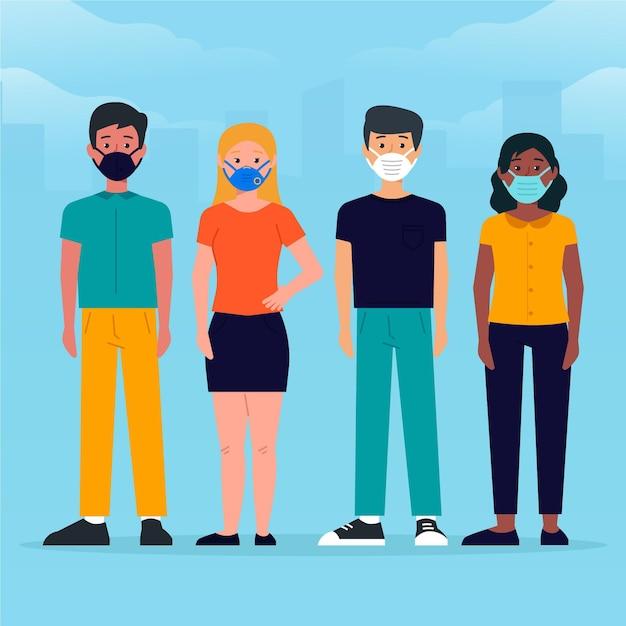 Mensen die verschillende soorten gezichtsmaskers dragen Gratis Vector