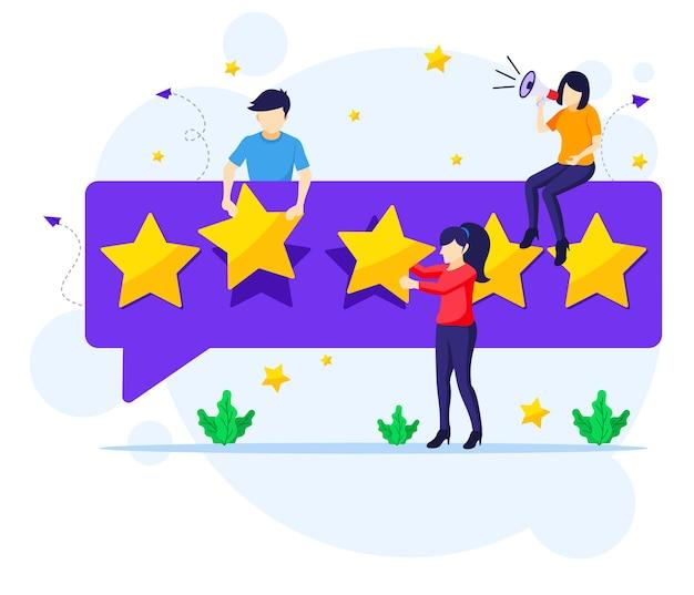 Mensen die vijf sterren beoordelen en beoordelen Premium Vector