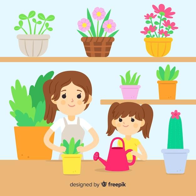 Mensen die voor planten zorgen Gratis Vector