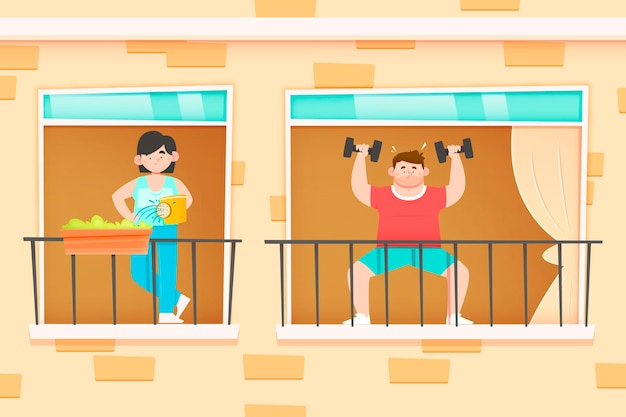 Mensen die vrijetijdsactiviteiten op het balkon doen Gratis Vector
