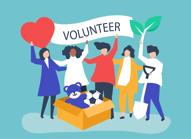 Mensen die vrijwilligerswerk doen en geld doneren Gratis Vector