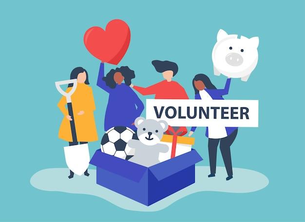 Mensen die vrijwilligerswerk doen en geld en spullen doneren Gratis Vector