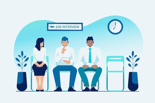 Mensen die wachten op een sollicitatiegesprek Gratis Vector