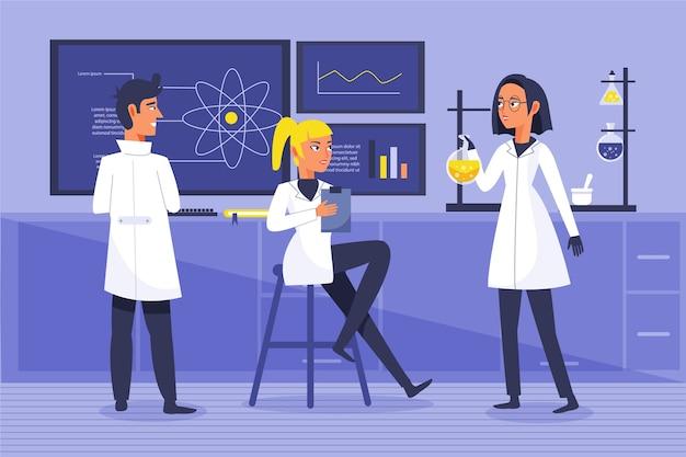 Mensen die werken in een science lab concept Gratis Vector