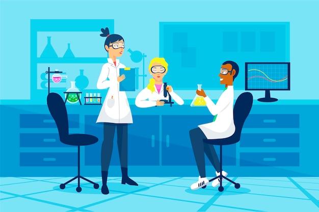 Mensen die werken in een wetenschappelijk laboratorium Gratis Vector