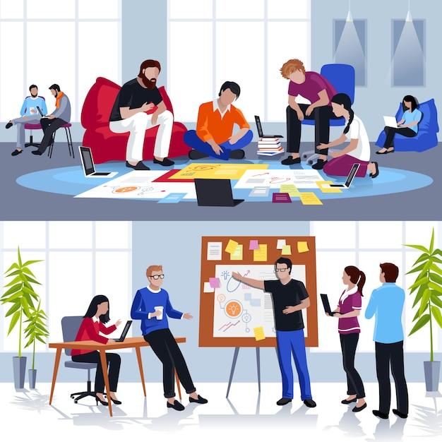 Mensen die werken in vlakke teamsamenstellingen Gratis Vector